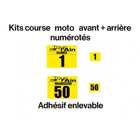 Kit motos avant + arrière numérotés