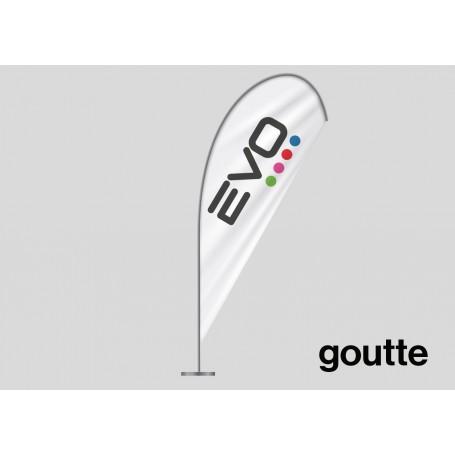 Drapeau publicitaire (oriflamme ou beach flag) modèle GOUTTE