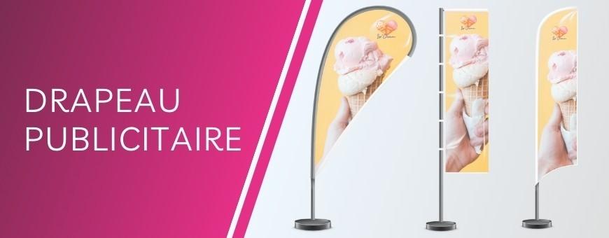Impression en ligne de drapeau publicitaire: oriflamme, beach flag pas cher sur Evoprint.fr